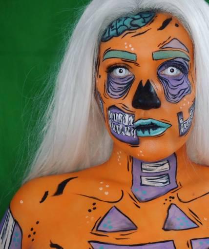 pumpkin pop art zombie